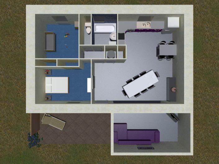 Aménagement intérieur d'une maison en 3D