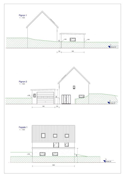 Plan de façade pour un garage